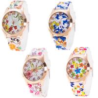 Damen Armbanduhr, Silikon, mit Zinklegierung Zifferblatt & Glas, Rósegold-Farbe plattiert, verschiedene Muster für Wahl & für Frau, 40mm, Länge:ca. 9.8 ZollInch, verkauft von PC