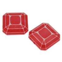 Chemische Wash Acryl Perlen, Quadrat, chemische-Waschanlagen & facettierte, rot, 18x8mm, Bohrung:ca. 1mm, 2Taschen/Menge, ca. 240PCs/Tasche, verkauft von Menge