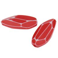 Chemische Wash Acryl Perlen, Pferdeauge, chemische-Waschanlagen & facettierte, rot, 31x14x7mm, Bohrung:ca. 1mm, 2Taschen/Menge, ca. 273PCs/Tasche, verkauft von Menge