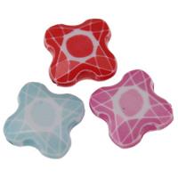 Chemische Wash Acryl Perlen, Blume, chemische-Waschanlagen & facettierte, gemischte Farben, 18x19x6.50mm, Bohrung:ca. 1mm, 2Taschen/Menge, ca. 444PCs/Tasche, verkauft von Menge