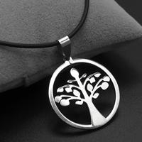 Baum des Lebens-Halskette, Edelstahl, mit Gummiband, Eisen Karabinerverschluss, mit Verlängerungskettchen von 4cm, originale Farbe, 29x32x2mm, verkauft per ca. 17 ZollInch Strang