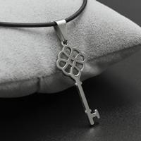 Edelstahl Schmuck Halskette, mit Gummiband, Eisen Karabinerverschluss, mit Verlängerungskettchen von 4cm, Schlüssel, originale Farbe, 14x37x2mm, verkauft per ca. 17 ZollInch Strang