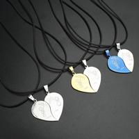 Edelstahl Puzzle Paar Halskette, mit Gummiband, Eisen Karabinerverschluss, mit Verlängerungskettchen von 4cm, Herz, Wort Liebe dich, plattiert, für paar, keine, 18x35x2mm, Länge:ca. 17 ZollInch, verkauft von Paar