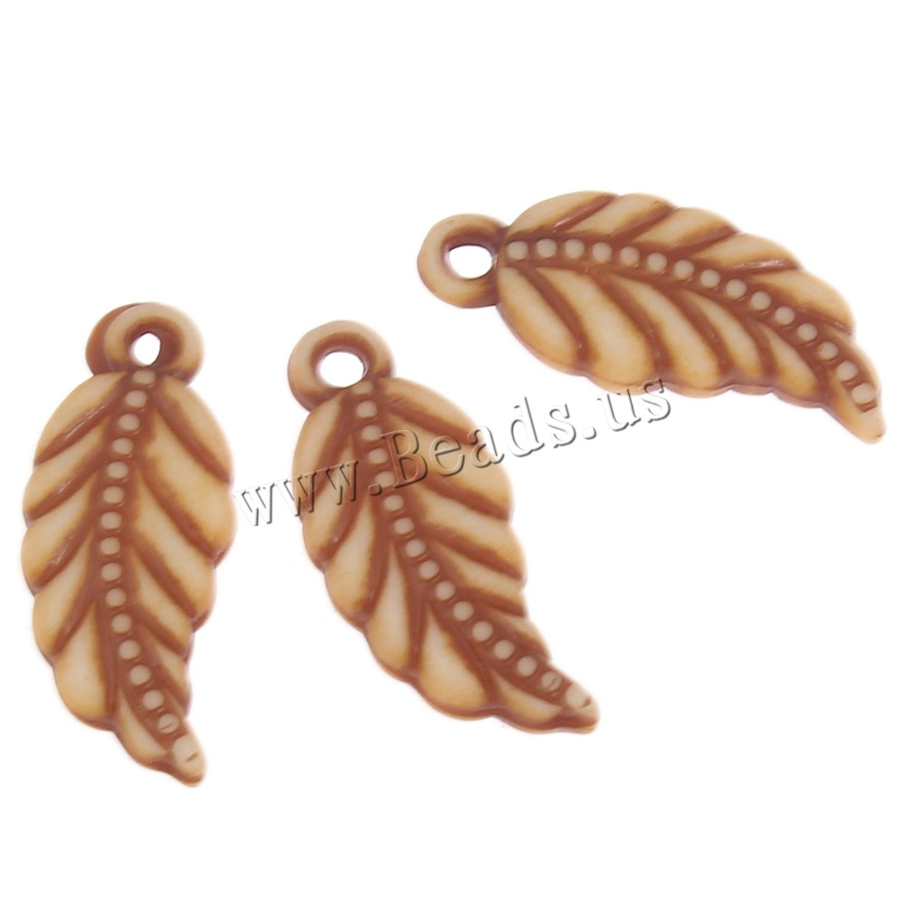 Acrylic Pendants Leaf imitation ox bone light coffee 8x17x3mm Hole:Approx 1mm 2Bags/Lot Approx 2500PCs/Bag Sold Lot