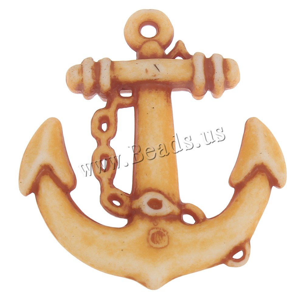 Buy Acrylic Pendants Anchor imitation ox bone & nautical pattern coffee color 29x32x4.50mm Hole:Approx 1mm 2Bags/Lot Approx 285PCs/Bag Sold Lot