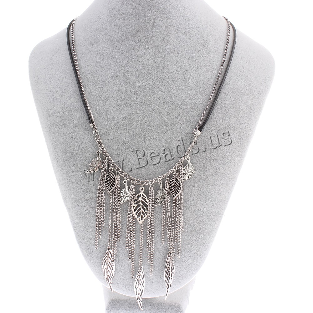 Buy Fashion Fringe Necklace Zinc Alloy Waxed Linen Cord & iron chain 7cm extender chain Leaf antique silver color plated twist oval chain & 2-strand nickel lead & cadmium free 10x18x1.5mm-10x40x0.5mm Sold Per Approx 18 Inch Strand