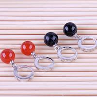 Huggie Hoop Drop Ohrringe, Messing, mit Achat, rund, versilbert, mit 925 logo & verschiedenen Materialien für die Wahl, frei von Nickel, Blei & Kadmium, 8mm, verkauft von Paar