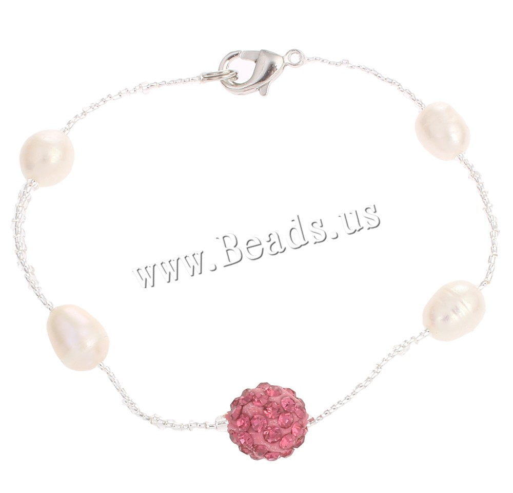 Buy Freshwater Cultured Pearl Bracelet Freshwater Pearl Rhinestone Clay Pave & Glass Seed Beads brass lobster clasp Rice natural 4rhinestone colors choice 7-9mm 10mm Sold Per Approx 8 Inch Strand