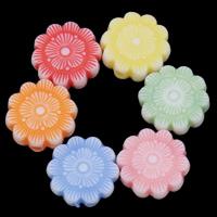 Chemische Wash Acryl Perlen, Blume, chemische-Waschanlagen, gemischte Farben, 12x4mm, Bohrung:ca. 1mm, 2Taschen/Menge, ca. 1200PCs/Tasche, verkauft von Menge