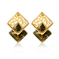 Gets® Schmuck Ohrring, Messing, Rhombus, 18 K vergoldet, mit kubischem Zirkonia & facettierte, frei von Nickel, Blei & Kadmium, 12x17mm, verkauft von Paar