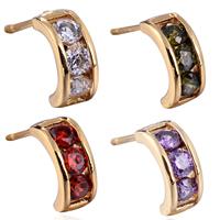 Gets® Schmuck Ohrring, Messing, 18 K vergoldet, Micro pave Zirkonia, keine, frei von Nickel, Blei & Kadmium, 3mm, verkauft von Paar
