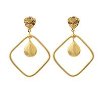 Gets® Schmuck Ohrring, Messing, Rhombus, 18 K vergoldet, Blume Schnitt, frei von Nickel, Blei & Kadmium, 44x62mm, verkauft von Paar