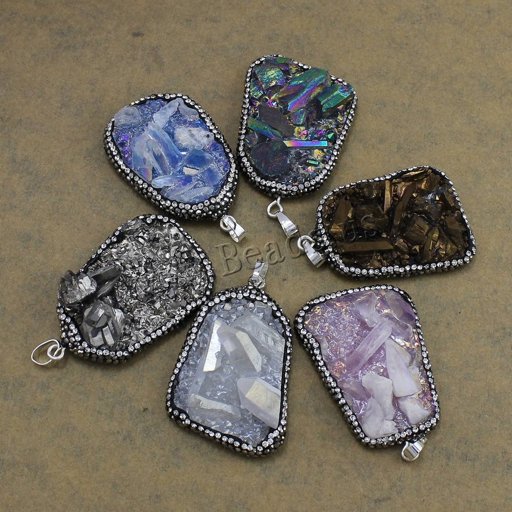 Buy Natural Quartz Druzy Pendants Brass Rhinestone Clay Pave & Quartz platinum color plated druzy style colors choice nickel lead & cadmium free 32-35x50-52x11-16mm Hole:Approx 5x7mm 1 Sold Lot