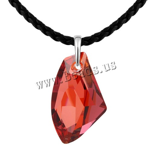 Buy CRYSTALLIZED™ Element Crystal Sweater Chain Necklace PU Leather & Zinc Alloy real gold plated Crystal Red Magma 2.3x4.5cm Sold Per Approx 35 Inch Strand
