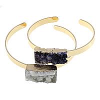 DruzyDruzy Armband, Messing, mit Eisquarz Achat, goldfarben plattiert, natürliche & druzy Stil, keine, frei von Nickel, Blei & Kadmium, 27-30x14.5x11-13mm, Innendurchmesser:ca. 64x53mm, Länge:ca. 7.5 ZollInch, 10PCs/Menge, verkauft von Menge