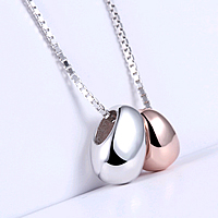 925 Sterling Silber Halskette, plattiert, Kastenkette & zweifarbig, 10x6mm, 7x5mm, Länge:ca. 17.7 ZollInch, 2SträngeStrang/Menge, verkauft von Menge