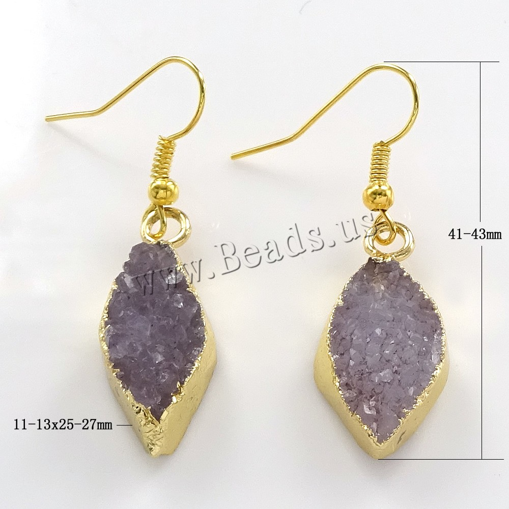 Buy Druzy Earring Brass Ice Quartz Agate Horse Eye gold color plated natural & druzy style nickel lead & cadmium free 11-13x25-27x16-17mm 41-43mm 5Pairs/Lot Sold Lot