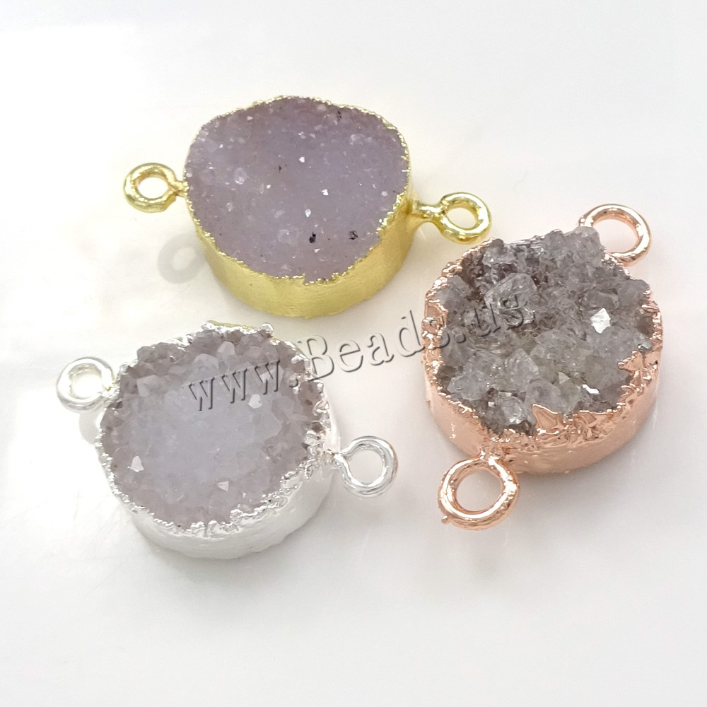 Buy Druzy Connector Brass Ice Quartz Agate Flat Round plated natural & druzy style & 1/1 loop colors choice nickel lead & cadmium free 23-28x15-17x6-8mm Hole:Approx 2mm 1 Sold Lot
