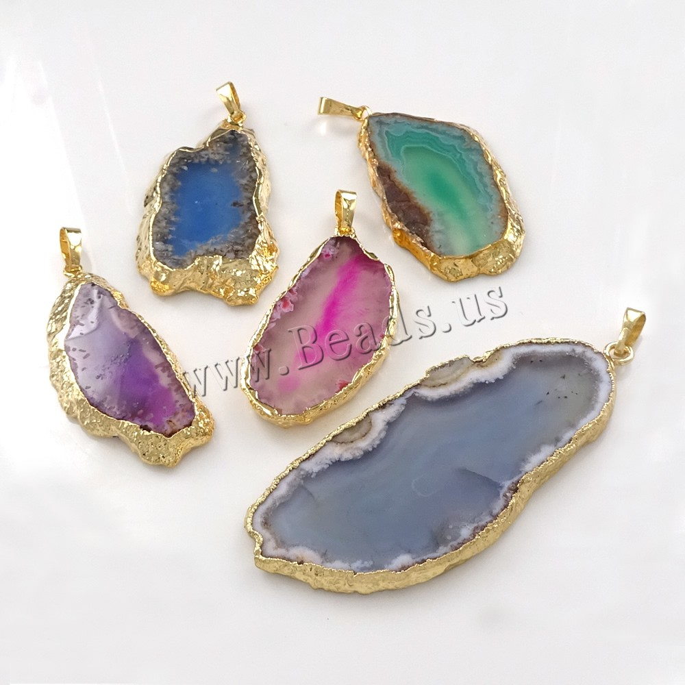 Buy Agate Jewelry Pendants Brass Agate gold color plated natural & mixed nickel lead & cadmium free 23-32x45-73x3-5mm Hole:Approx 5x7mm 1 Sold Lot