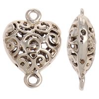 Herz Zinklegierung Schmuckverbinder, vergoldet, 1/1-Schleife & hohl, frei von Nickel, Blei & Kadmium, 15x22x7mm, Bohrung:ca. 2mm, verkauft von PC