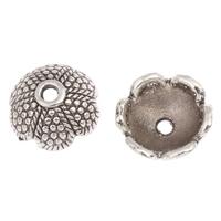 Zinklegierung Perlenkappe, Blume, antik silberfarben plattiert, frei von Blei & Kadmium, 14x5mm, Bohrung:ca. 1.5mm, 100G/Tasche, verkauft von Tasche