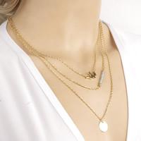 Mode-Multi-Layer-Halskette, Zinklegierung, mit Eisenkette & Kristall, mit Verlängerungskettchen von 5cm, goldfarben plattiert, Oval-Kette & 3-Strang & facettierte, frei von Nickel, Blei & Kadmium, 43cm, Länge:ca. 16.5 ZollInch, 3SträngeStrang/Tasche, verkauft von Tasche
