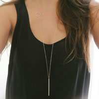 Zinklegierung Pullover Halskette, mit Eisenkette, silberfarben plattiert, Oval-Kette, frei von Nickel, Blei & Kadmium, 100cm, Länge:ca. 39 ZollInch, 3SträngeStrang/Tasche, verkauft von Tasche