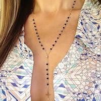 Zinklegierung Pullover Halskette, mit Eisenkette & Acryl, Kreuz, goldfarben plattiert, frei von Nickel, Blei & Kadmium, 60cm, Länge:ca. 23.5 ZollInch, 3SträngeStrang/Tasche, verkauft von Tasche