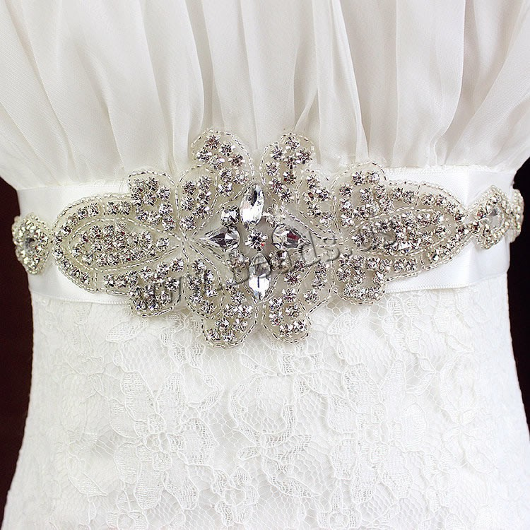 Buy Decorative Belt Satin Ribbon Crystal & Glass Seed Beads Flower bridal & faceted & rhinestone clear 330x70mm Length:Approx 68.5 Inch 3Strands/Bag Sold Bag