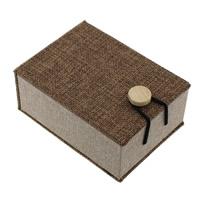 Leinen Anhänger Schmuckkasten, mit Schwamm & Holz, Rechteck, 76x105x45mm, 20PCs/Menge, verkauft von Menge