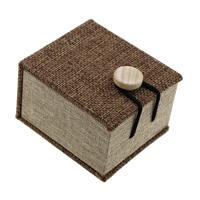 Hanf -Ring-Kasten, Leinen, mit Schwamm & Holz, Rechteck, 60x70x45mm, 24PCs/Menge, verkauft von Menge
