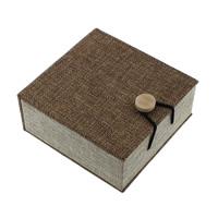 Hanf Armband Box, Leinen, mit Schwamm & Holz, Quadrat, 100x105x45mm, 18PCs/Menge, verkauft von Menge
