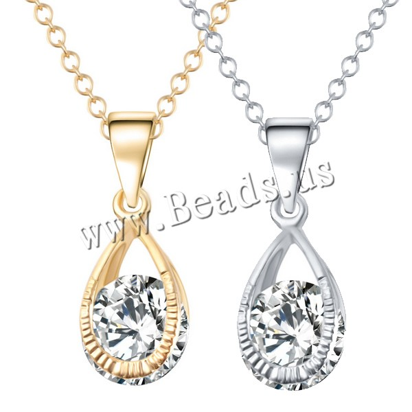 Buy Crystal Zinc Alloy Necklace Crystal Teardrop plated oval chain & faceted & rhinestone colors choice nickel lead & cadmium free 17x5mm Sold Per Approx 16.5 Inch Strand