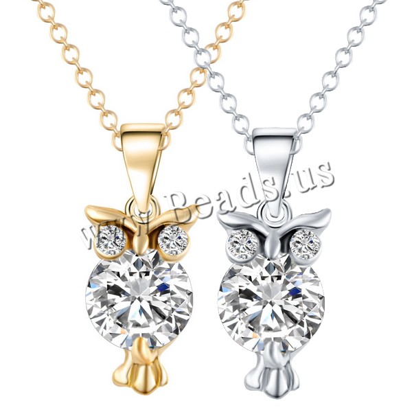 Buy Crystal Zinc Alloy Necklace Crystal Owl plated oval chain & faceted & rhinestone colors choice nickel lead & cadmium free 17x5mm Sold Per Approx 16.5 Inch Strand