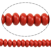 Harz Schmuckperlen, Rondell, Nachahmung Zinnober, rot, 4x8x8mm, Bohrung:ca. 2mm, Länge:ca. 16 ZollInch, 3SträngeStrang/Menge, ca. 88PCs/Strang, verkauft von Menge