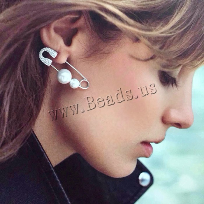Zinc Alloy Earrings With Abs Plastic Pearl Stainless Steel
