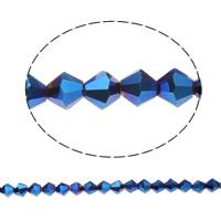 Doppelkegel Kristallperlen, Kristall, AB Farben plattiert, facettierte, Crystal Metallic Blue, 6x6mm, Bohrung:ca. 1mm, ca. 50PCs/Strang, verkauft per 11.5 ZollInch Strang