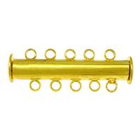 Messing Schiebeverschluss, goldfarben plattiert, 5-litzig, frei von Nickel, Blei & Kadmium, 30x10x7mm, Bohrung:ca. 1.5mm, 100PCs/Menge, verkauft von Menge