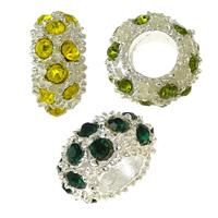 Strass Perlen European Stil, Zinklegierung, Rondell, silberfarben plattiert, ohne troll & mit Strass, keine, frei von Nickel, Blei & Kadmium, 6x11x11mm, Bohrung:ca. 5mm, 100PCs/Menge, verkauft von Menge