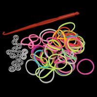 Webstuhl-Bands, Gummi, mit Kunststoff, Angehängte Häkelnadel & mit Clip S, gemischte Farben, 17x1mm, ca. 300PCs/Tasche, verkauft von Tasche