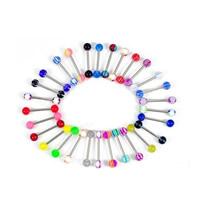 Edelstahl Zungenring, mit Acryl, gemischtes Muster, 16mm, 1.6mm, 6mm, 100PCs/Menge, verkauft von Menge