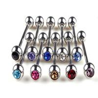 Edelstahl Zungenring, mit Strass, gemischte Farben, 4mm, 5mm, 100PCs/Menge, verkauft von Menge