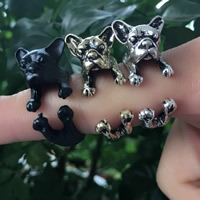 Zinklegierung Manschette Fingerring, Hund, plattiert, offen, frei von Nickel, Blei & Kadmium, 20x12mm, Größe:7-9, 5PCs/Tasche, verkauft von Tasche