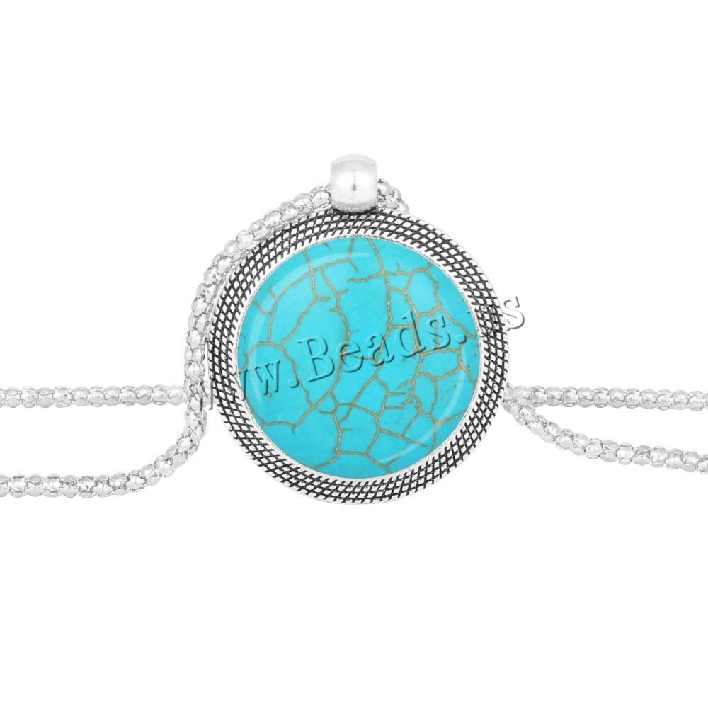Buy Turquoise Sweater Chain Necklace Zinc Alloy iron chain Flat Round antique silver color plated lantern chain nickel lead & cadmium free 25mm Length:Approx 28.5 Inch 3Strands/Bag Sold Bag