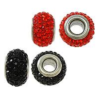 Strass Perlen European Stil, Edelstahl, mit Ton, Trommel, Edelstahl-Dual-Core ohne troll, keine, 9x14mm, Bohrung:ca. 5mm, verkauft von PC
