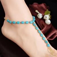 Mode Toe Fußkette, Synthetische Türkis, mit Glas-Rocailles, 260mm, Länge:ca. 8.5 ZollInch, 3SträngeStrang/Tasche, verkauft von Tasche