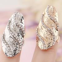 Zink-Legierung Nail -Finger-Ring, Zinklegierung, plattiert, mit Strass, keine, frei von Nickel, Blei & Kadmium, 28x15mm, Größe:3, verkauft von PC