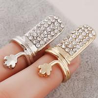 Zink-Legierung Nail -Finger-Ring, Zinklegierung, Blume, plattiert, mit Strass, keine, frei von Nickel, Blei & Kadmium, 30x15mm, Größe:2, verkauft von PC