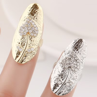 Zink-Legierung Nail -Finger-Ring, Zinklegierung, Herz, plattiert, mit Strass, keine, frei von Nickel, Blei & Kadmium, 29x13mm, Größe:3, verkauft von PC
