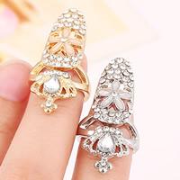 Zink-Legierung Nail -Finger-Ring, Zinklegierung, mit Glas, Krone, plattiert, Emaille & facettierte & mit Strass, keine, frei von Nickel, Blei & Kadmium, 35x16mm, Größe:2, verkauft von PC